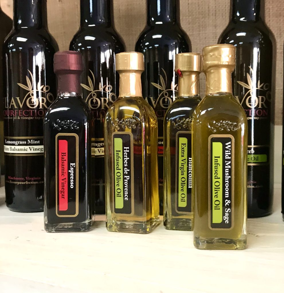 Sampler bottles of infused olive oils and gourmet vinegars from Flavor available at The Virginia Farmhouse