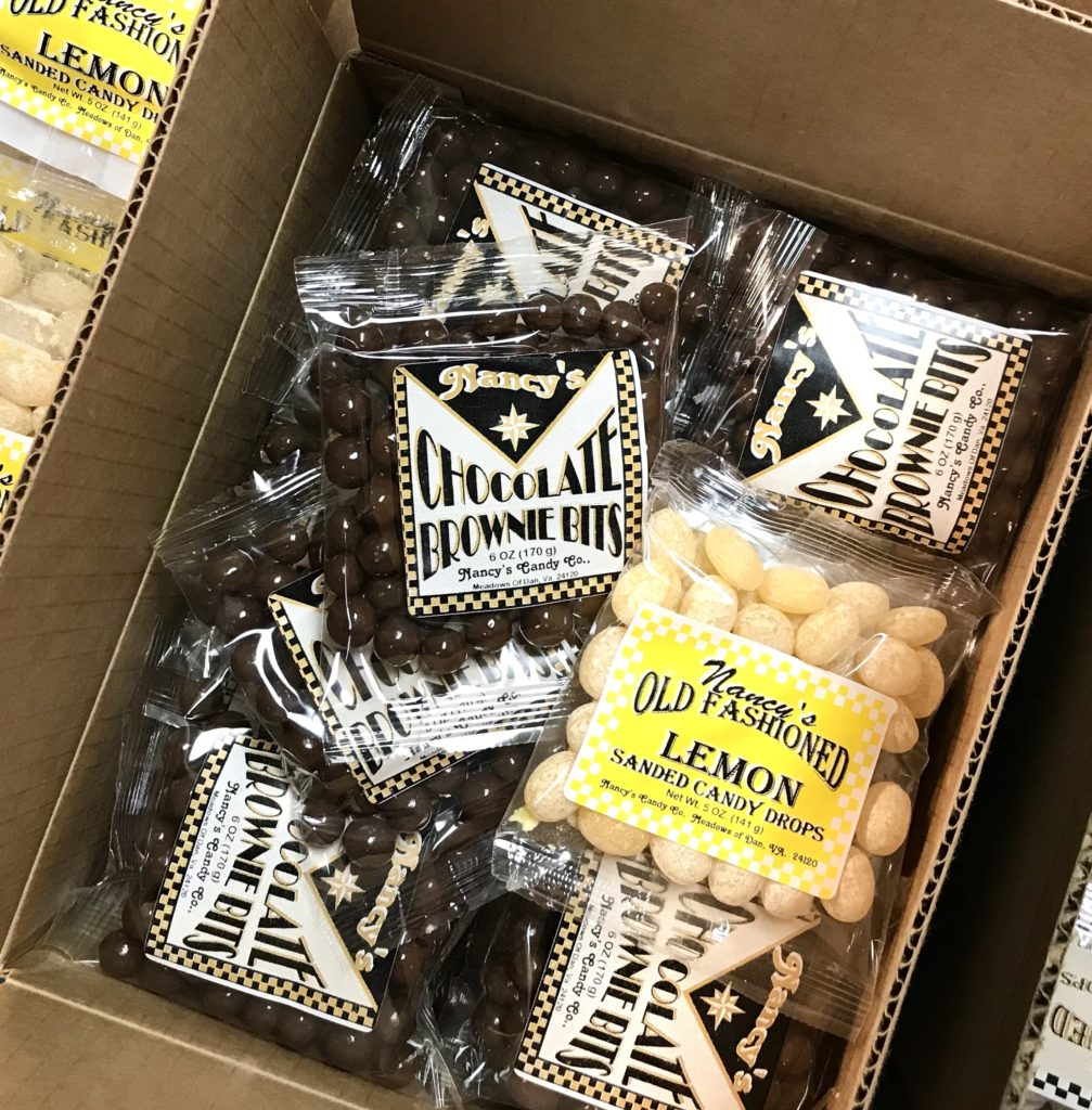 Chocolate covered Brownie Bits and Lemon Drops from Nancy's Candy available at The Virginia Farmhouse