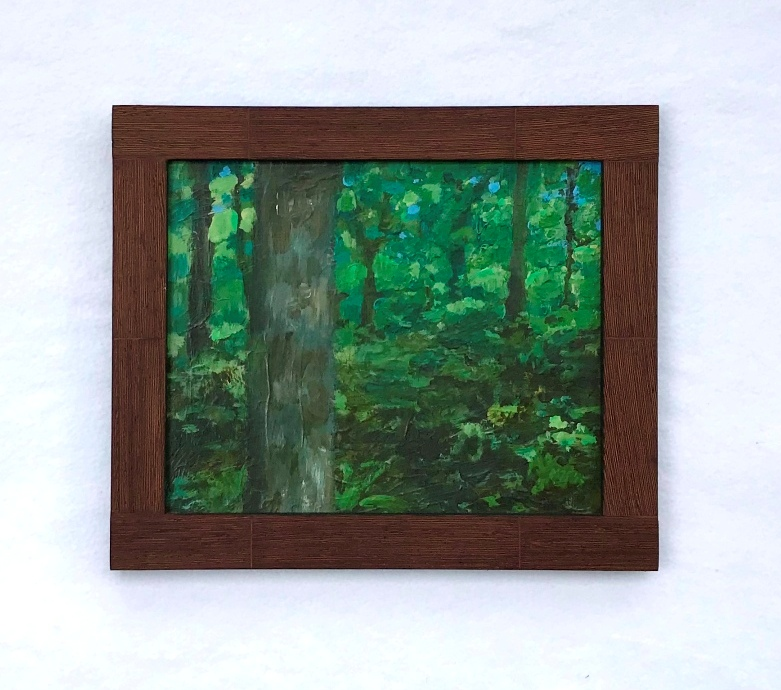 A painting of a forest in a Wenge veneered frame both hand made by MJ Seal