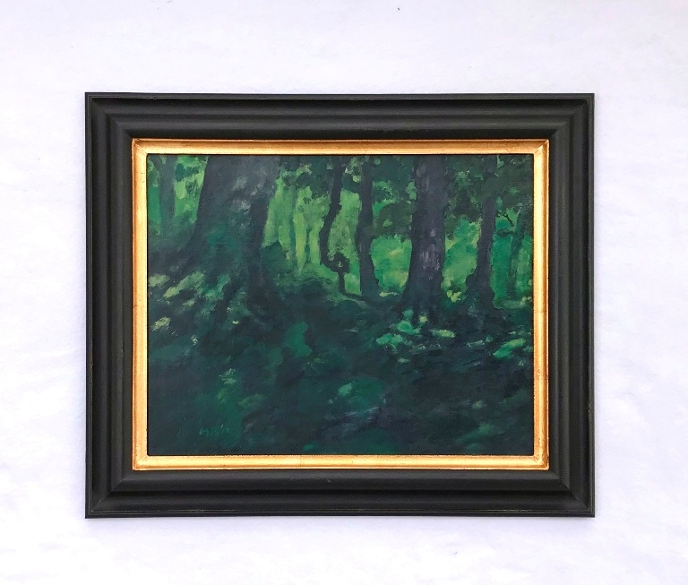 A painting of a forest in a black and gold Dutch-style reverse frame both made by MJ Seal