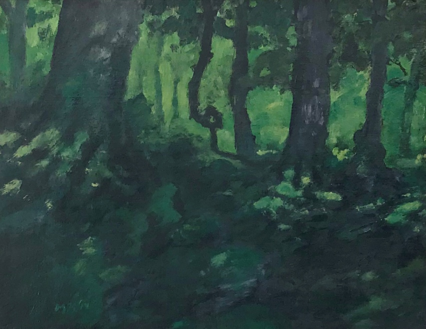 A painting of a shady forest floor peirced by sunbeams painted by MJ Seal
