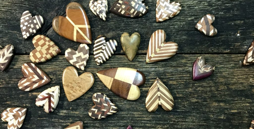 Wooden hearts made from bits of scrap wood