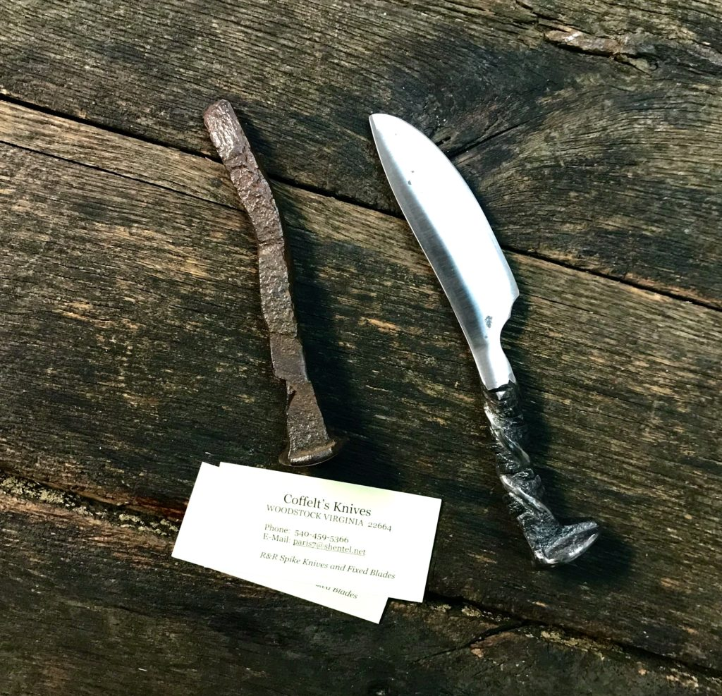 A knife forged from an upcycled railroad spike by Cregg Coffelt available at The Virginia Farmhouse