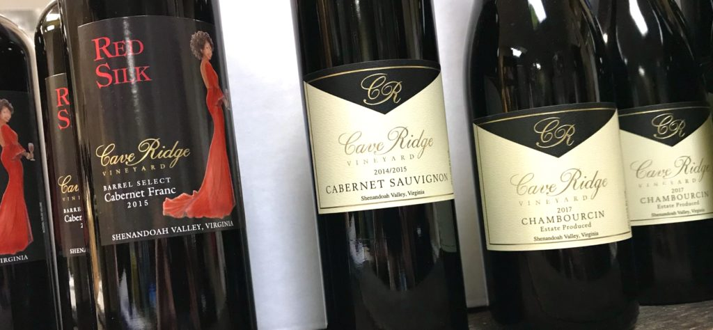 Bottles of Cabernet Franc, Cabernet Sauvignon and Chambourcin from Cave Ridge Vineyard available at The Virginia Farmhouse