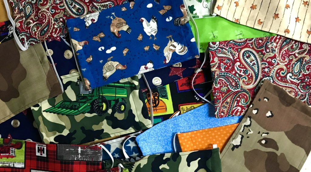 Face Masks made by Dawn Steed with a plethora of fabric patterns available at The Virginia Farmhouse