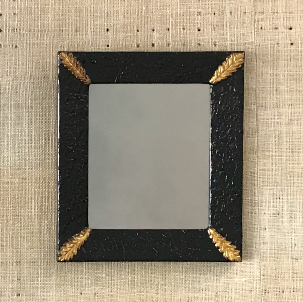 A hand made mirror in a hand made frame by MJ Seal woth eggshell veneer and gold corner ornaments for sale at The Virginia Farmhouse