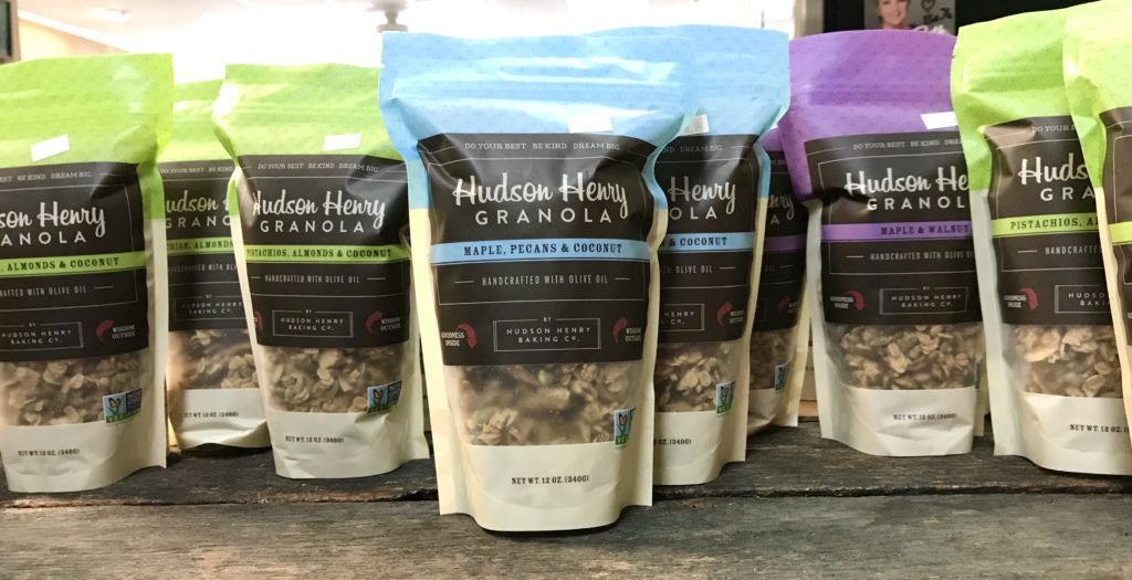 Bags of granola from the Hudson Henry Baking Company available at The Virginia Farmhouse