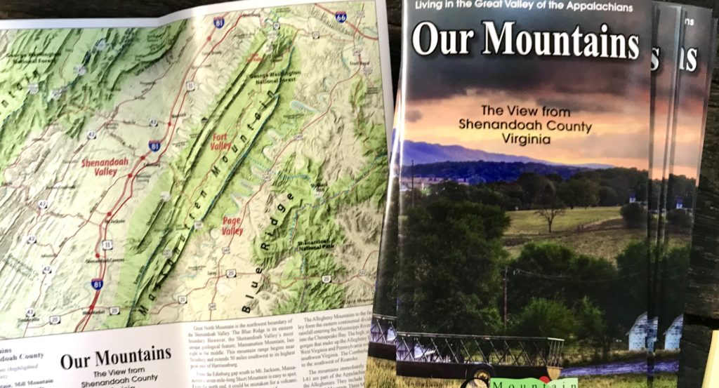 Copies of Our Mountains a guide to the mountain ranges of the Shenandoah Valley for sale at The Virginia Farmhouse