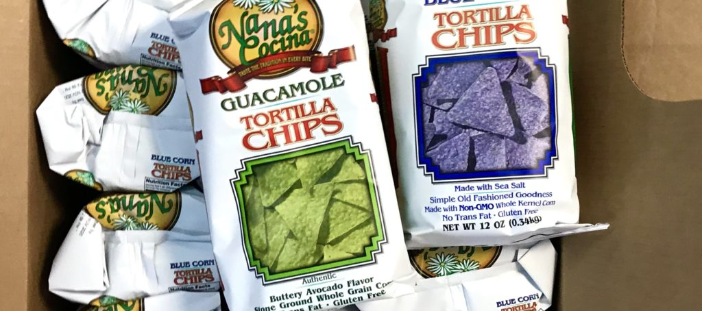 Bags of Guacamole Flavored and Blue Corn Tortilla Chips from Nana's Cocina for sale at The Virginia Farmhouse