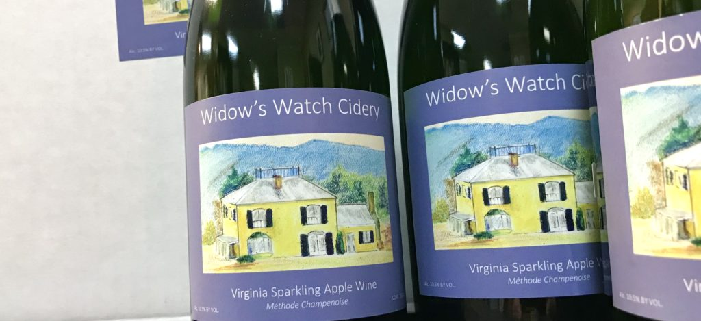 Bottles of Sparkling Apple Wine from Widow's Watch Cidery of Edinburg, VA for sale at The Virginia Farmhouse