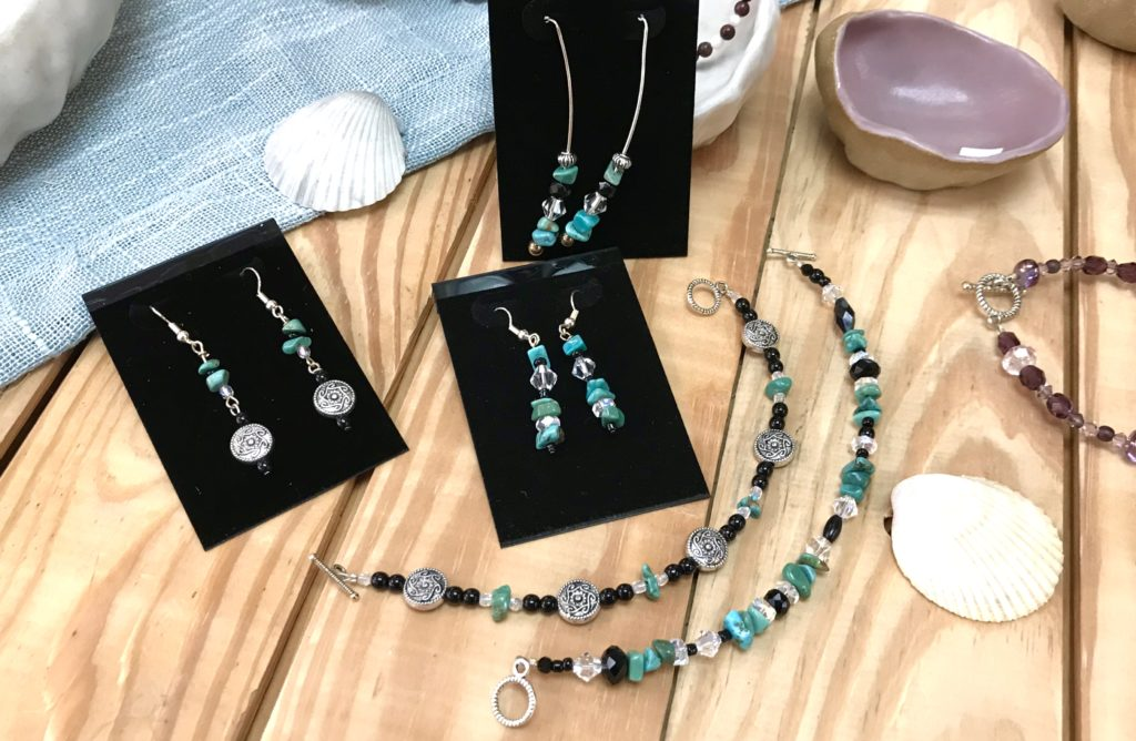 Two turquoise beaded bracelets and three sets of earrings hand made by Sue Southee of Gemini Dreams available for sale at The Virginia Farmhouse