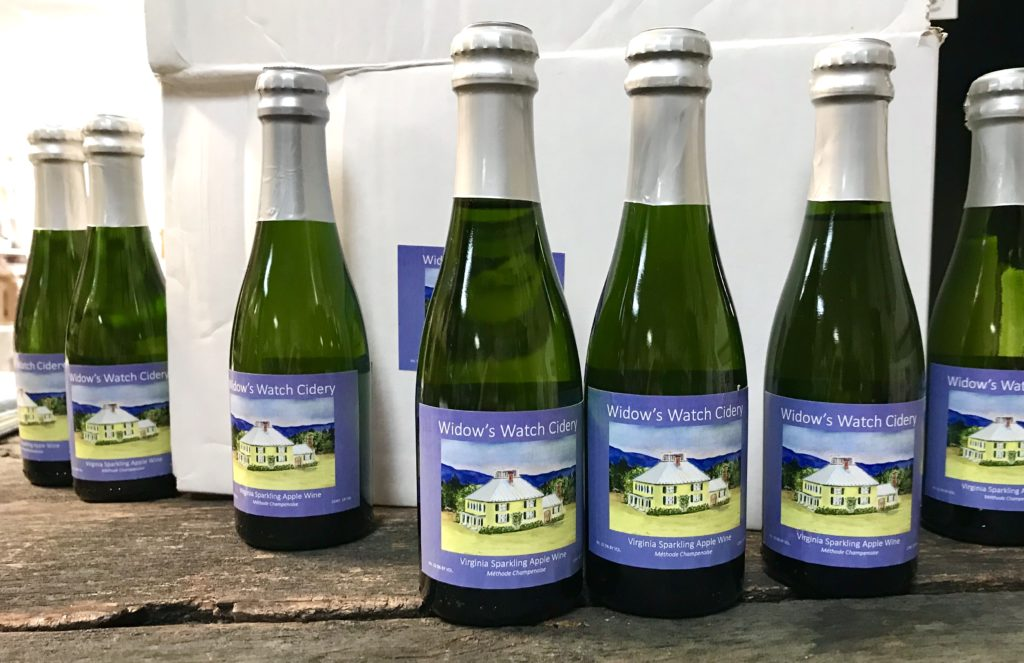 Mini 187 ml bottles of Virginia Sparkling Apple Wine available for purchase at The Virginia Farmhouse