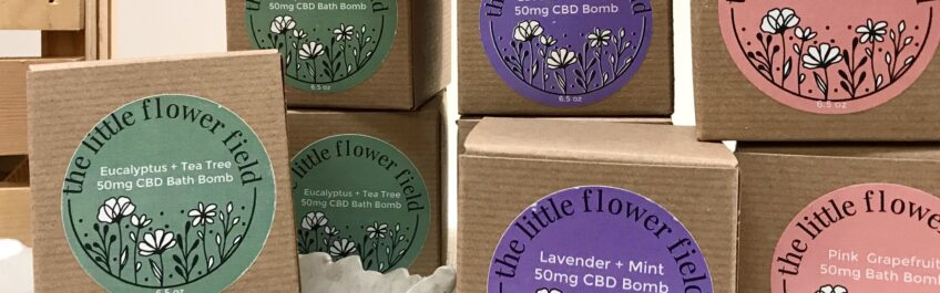Bath Bombs made with CBD Oil from The Little Flower Field available for sale at The Virginia Farmhouse