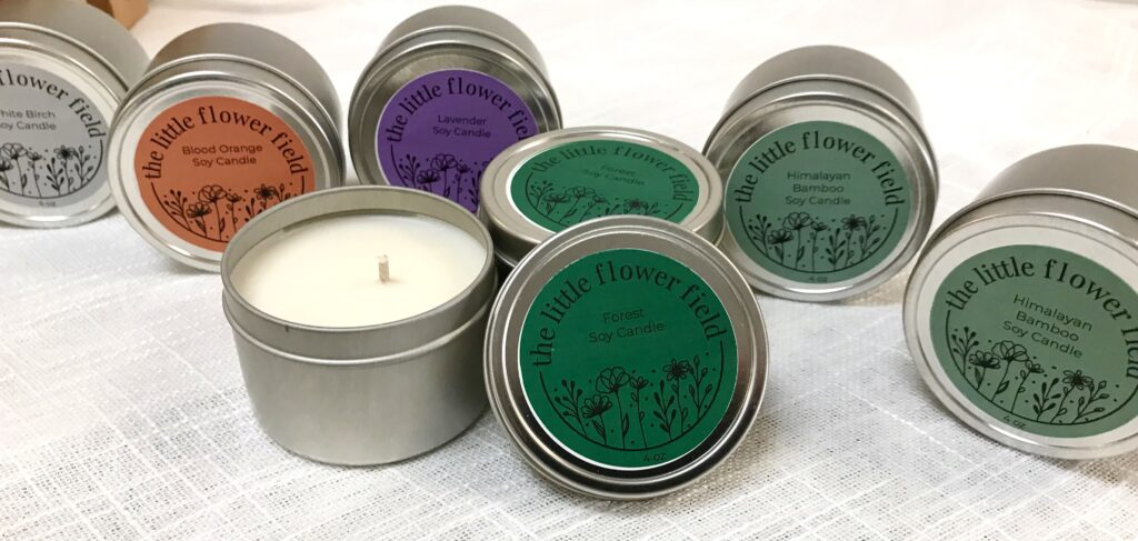 Hand Made soy candles from The Little Flower Field available for sale at The Virginia Farmhouse