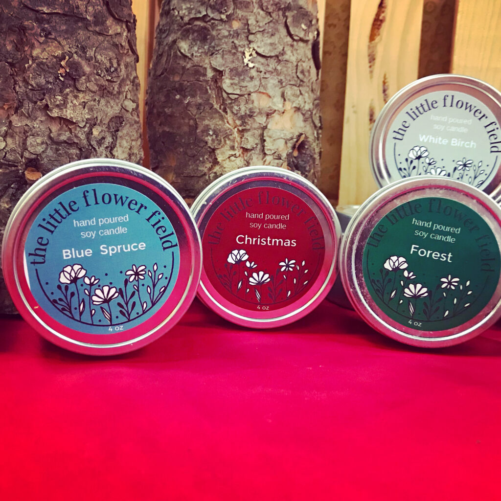 Christmas, Blue Spruce and Forest scented candles from The Little Flower Field for sale at The Virginia Farmhouse