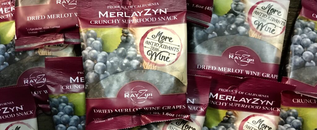 Packets of raisins made from real Merlot grapesavailable for sale at The Virginia Farmhouse