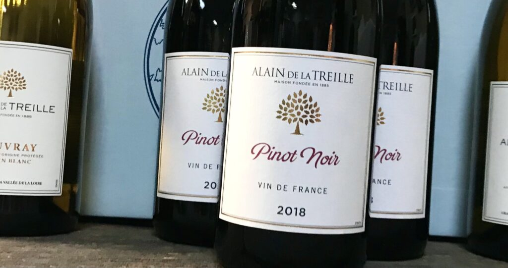 Bottles of Alaine De La Treille Pinot Noir from France's Loire Valleyavailable for sale at The Virginia Farmhouse