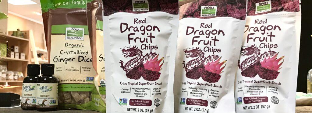 Bags of Red Dragon Fruit Chips and Crystallized Ginger Dices from NOW Foods available for sale at The Virginia Farmhouse