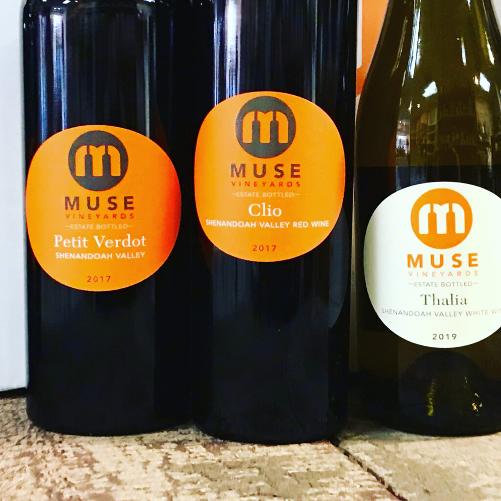 Bottles of Petit Verdot, Clio and Thalia from Muse Vineyards available for sale at The Virginia Farmhouse