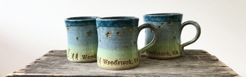 three Ceramic Woodstock, VA mugs hand made locally by Barbarah Robertson available exclusively at The Virginia Farmhouse