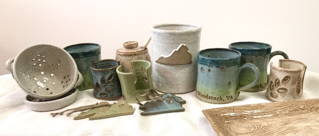 Stoneware potttery locally made by Barbarah Robertson available for sale at The Virginia Farmhouse