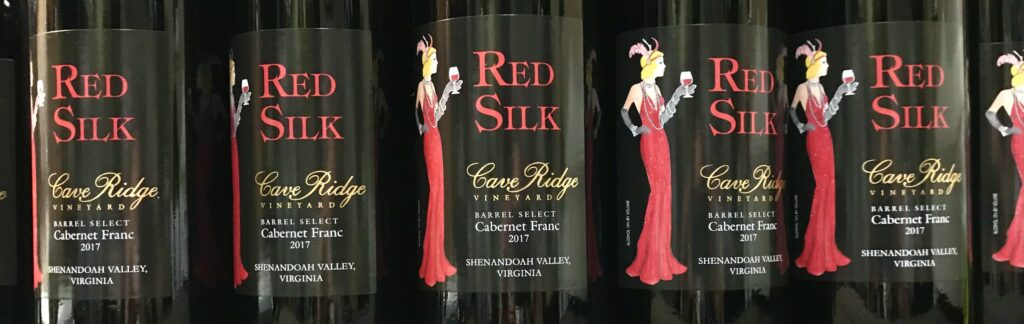 Close up of bottles of the 2017 vintage of Red Silk a barrel select Cabernet Franc and winner gold medal winner at this years governor's cup from Cave Ridge Vineyard available for sale at The Virginia Farmhouse