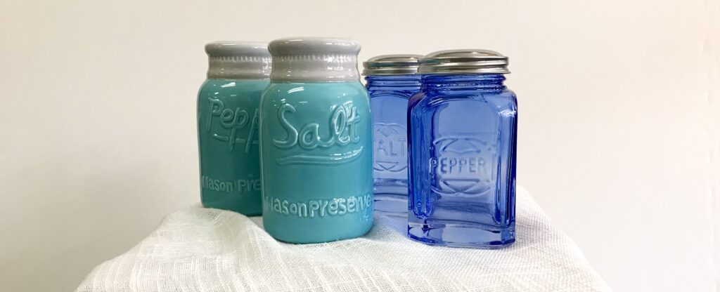 Retro mason jar ceramic and blue glass salt and pepper shakers available for sale at The Virginia Farmhouse