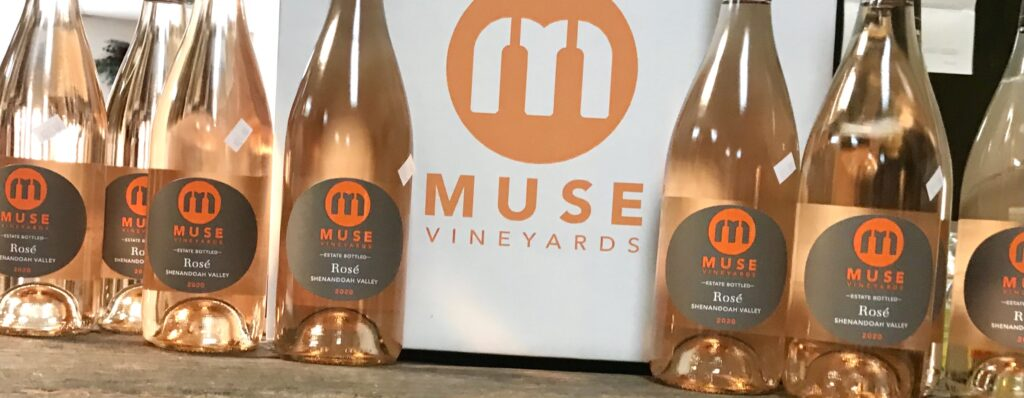 Bottles of Virginia Rose from Muse Vineyards available for sale at The Virginia Farmhouse