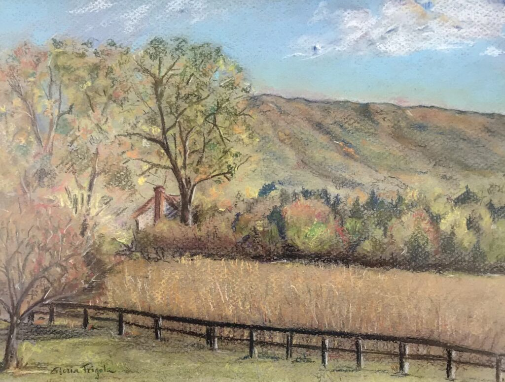 """""""Early Fall Day in the Valley"""" a pastel drawing by Gloria Frigola available for sale at The Virginia Farmhouse"""
