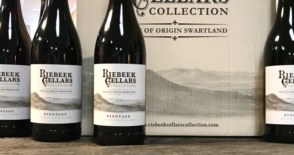 Bottles of South African Pinotage from Riebeek Cellars available for sale at The Virginia Farmhouse
