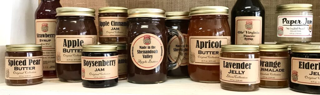 Bottles of Fruit Butters, Jams, Jellies and Syrups from The Country Canneravailable for sale at The Virginia Farmhouse