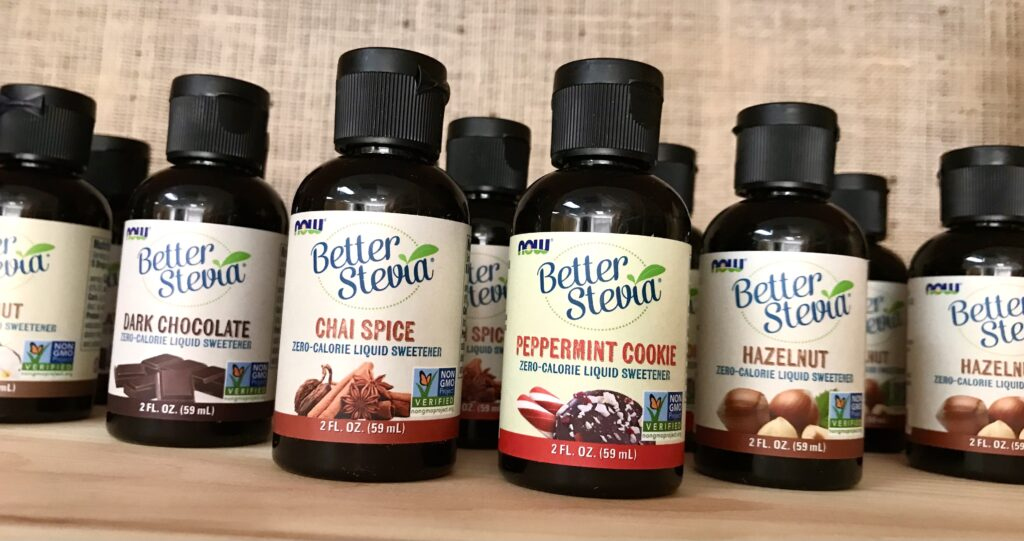 Bottles of Better Stevia Liquid Sweeteners from Now Foods available for sale at The Virginia Farmhouse