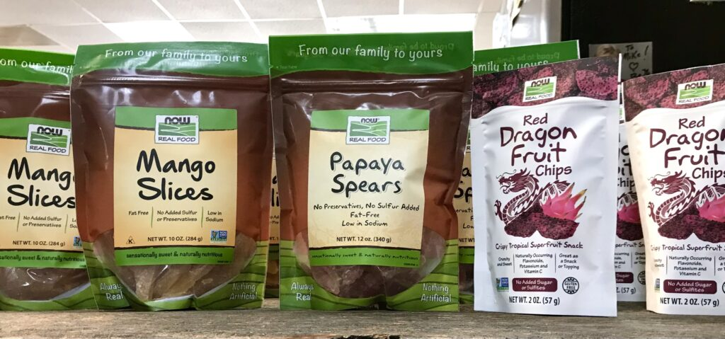 Bags of Papaya Spears, Mango Slices and Dragonfruit Chips from Now Foods available for sale at The Virginia Farmhouse