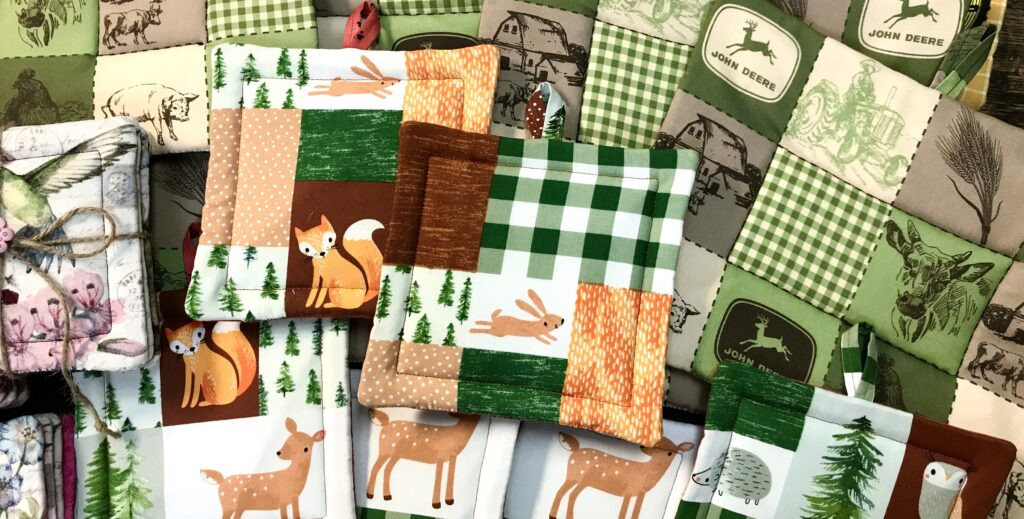 Fabric hot pads and coasters hand made from a variety of fabrics by local lady Dawn Steed are available for sale at The Virginia Farmhouse