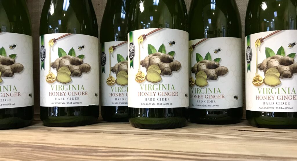 Bottles of Virginia Honey Ginger Cider from Old Hill Cider available for sale at The Virginia Farmhouse
