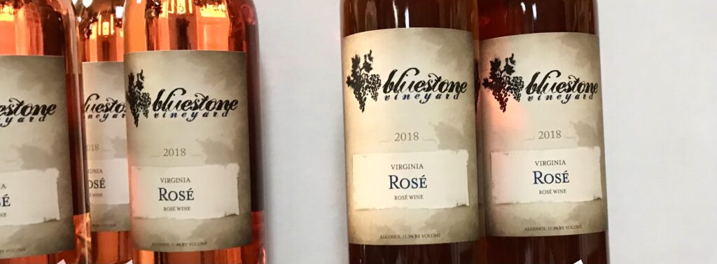 Bottles of Virginia Rose from Bluestone Vineyard available for sale at The Virginia Farmhouse