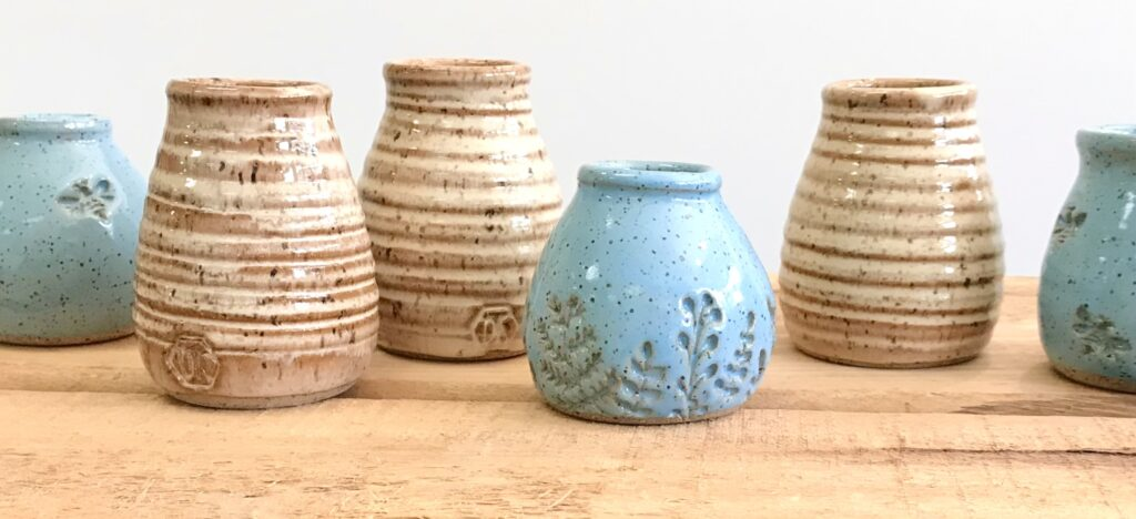 Flower Bud Vases hand made by Barbarah Robertson available for sale at The Virginia Farmhouse
